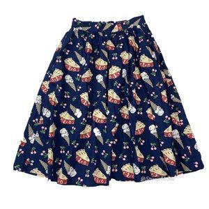ModCloth Sweet Spot A-Line Cherry Pie Skirt Sz XXS
